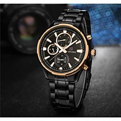 お買い得  メンズ腕時計-NAVIFORCE 男性用 リストウォッチ 日本産 クォーツ 30 m 耐水 クール ステンレス バンド ハンズ ぜいたく ファッション ブラック - ブラック