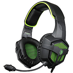 sades SA-807 3.5mm gaming headset med mikrofon brusreducering musik hörlurar svart-blå för PS4 laptop pc mobiltelefoner