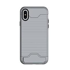 tanie Etui do iPhone-Kılıf Na Apple iPhone X iPhone X iPhone 8 iPhone 8 Plus Etui na karty Odporne na wstrząsy Czarne etui Solid Color Twarde TPU na iPhone X