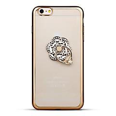 Недорогие Кейсы для iPhone-Кейс для Назначение Apple iPhone 6 iPhone 6 Plus Стразы Покрытие Кольца-держатели Прозрачный Кейс на заднюю панель Цветы Мягкий ТПУ для