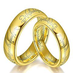 preiswerte Ringe-Paar Bandring - Titanstahl Modisch 6 / 7 / 8 / 9 / 10 Gold / Schwarz / Silber Für Alltag