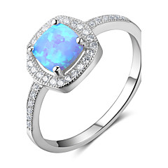 Kadın's Evlilik Yüzükleri Sentetik Opal Klasik Som Gümüş Geometric Shape Mücevher Uyumluluk Düğün