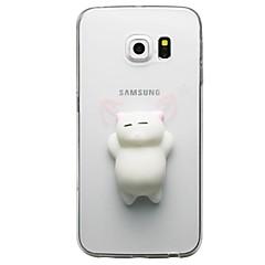 olcso Galaxy S4 Mini tokok-Case Kompatibilitás Samsung Galaxy S8 Plus S8 Átlátszó Minta pépes DIY Fekete tok Cica 3D figura Puha TPU mert S8 Plus S8 S7 edge S7 S6