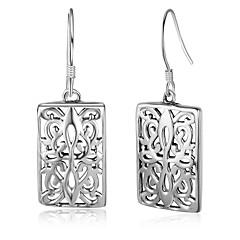 Dames Ring oorbellen Sterling zilver Rechthoekige vorm Sieraden Voor Verjaardag