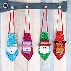 4pc 크리스마스 장식 성인 어린이 학교 장식 작은 선물 크리 에이 티브 작은 선물 넥타이 빛나는 나비 넥타이