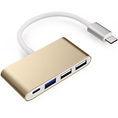 zhengfuタイプ-cから2 usb 2.0 1 usb 3.0 usb-c otg 1から4の高速アダプタmacbook macbook pro 11.5cmアルミニウム