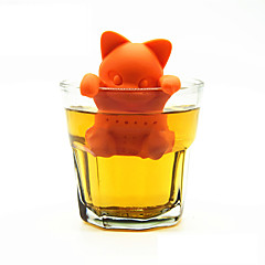 만화 고양이 차 여과기 실리콘 차 주입기 귀여운 오렌지 새끼 고양이 차 도구