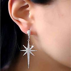 preiswerte Ohrringe-Damen Kubikzirkonia Lang Ohrstecker / Tropfen-Ohrringe - Edelstahl, Zirkon Stern Luxus, Modisch Silber Für Party / Geschenk