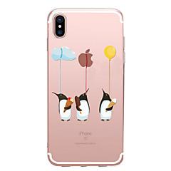 Недорогие Кейсы для iPhone 7 Plus-Кейс для Назначение Apple iPhone X iPhone 8 Прозрачный С узором Кейс на заднюю панель Композиция с логотипом Apple Животное Мягкий ТПУ для