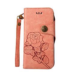 Недорогие Чехлы и кейсы для LG-Кейс для Назначение LG LG K10 LG K7 Бумажник для карт Кошелек со стендом Флип Рельефный Чехол Сплошной цвет Цветы Твердый Кожа PU для LG