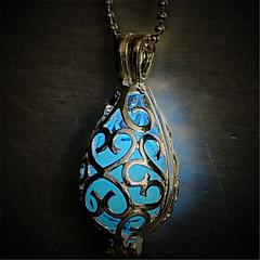 お買い得  ネックレス-女性用 輝く石 ペンダントネックレス  -  ドロップ オリジナル, 光る ライトブルー, ライトグリーン ネックレス 用途 Halloween, クラブ