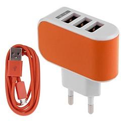 eu plug phone usb carregador carregador kit multi portas 100 cm 3 saídas 3 usb ports 3.1a ac 100v-240v