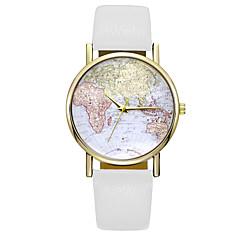 preiswerte Tolle Angebote auf Uhren-Damen Quartz Armbanduhr Weltkarte Muster PU Band Charme Modisch Schwarz Weiß Braun