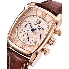 preiswerte Tolle Angebote auf Uhren-Herrn Armbanduhr Japanisch Quartz 30 m Kalender Stopuhr Cool Echtes Leder Band Analog Luxus Freizeit Modisch Braun - Weiß Rotgold