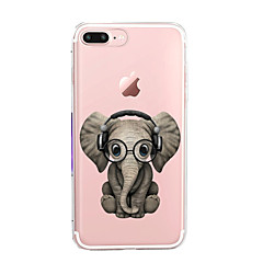 Para iPhone 7 iPhone 7 Plus Case Tampa Ultra-Fina Transparente Estampada Capa Traseira Capinha Elefante Macia PUT para Apple iPhone 7