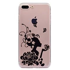Недорогие Кейсы для iPhone 7-Кейс для Назначение Apple iPhone X iPhone 8 Прозрачный С узором Кейс на заднюю панель Бабочка Соблазнительная девушка Цветы Мягкий ТПУ для
