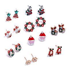 Mulheres Brincos Curtos Brincos em Argola Adorável Bling Bling Strass Liga Jóias Para Natal Bandagem