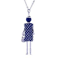 preiswerte Halsketten-Damen Lang Anhängerketten - Spitze Prinzessin Personalisiert, Luxus Silber, Dunkelblau, Braun Modische Halsketten Für Bühne, Verabredung