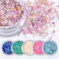 6 stücke natürliche shell kies glitter pailletten farbe nagel patch zubehör