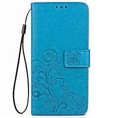 Недорогие Чехлы и кейсы для Motorola-Кейс для Назначение Motorola Бумажник для карт Кошелек со стендом Флип Рельефный Чехол Сплошной цвет Цветы Твердый Кожа PU для Мото G5