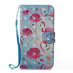 Кейс для Назначение Apple iPhone X iPhone 8 Plus Кошелек Бумажник для карт со стендом Флип Магнитный С узором Чехол Фламинго Твердый