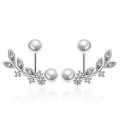 preiswerte Ohrringe-Damen Kubikzirkonia Ohrstecker - versilbert Blattform Weiß Für Zeremonie Valentinstag