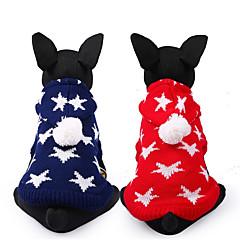 お買い得  犬用ウェア&アクセサリー-犬 セーター 犬用ウェア Stars レッド ブルー ナイロン コスチューム ペット用 カジュアル/普段着