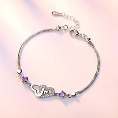 preiswerte Armbänder-Damen Kubikzirkonia Ketten- & Glieder-Armbänder - Sterling Silber Herz Armbänder Silber / Purpur Für Hochzeit / Party