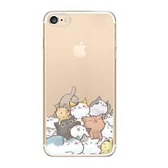 Недорогие Кейсы для iPhone 5-Кейс для Назначение iPhone X iPhone 8 Ультратонкий Прозрачный С узором Задняя крышка Кот Мягкий TPU для iPhone X iPhone 8 Plus iPhone 8