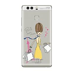Кейс для Назначение Huawei P9 P10 Прозрачный С узором Задняя крышка Слова / выражения Прозрачный Соблазнительная девушка Мягкий TPU для