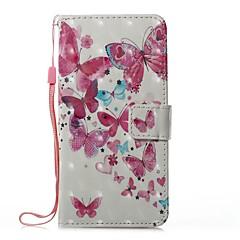 Кейс для Назначение Huawei P8 Lite (2017) P10 Lite Кошелек Бумажник для карт со стендом Флип С узором Магнитный Чехол Бабочка Твердый