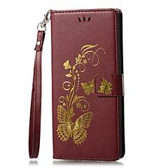 Недорогие Чехлы и кейсы для Galaxy Note 5-Кейс для Назначение SSamsung Galaxy Note 8 Бумажник для карт Кошелек со стендом Флип Магнитный С узором Рельефный Чехол Сплошной цвет