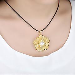 Mujer Collares con colgantes Collares Declaración Perla artificial Forma Redonda Forma de Flor Chapado en Oro Joyería de Lujo Floral Joyas