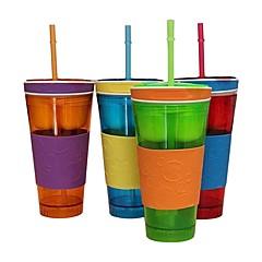 السفر وجبة خفيفة الشراب في حاوية واحدة غطاء القش الاطفال وجبة خفيفة زجاجة فصل إين مع القش رامدون اللون