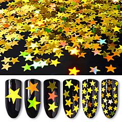 6box διαφορετικά μεγέθη χρυσή πεντάκτινο αστέρι πούλιες λέιζερ πολύχρωμες διακοσμήσεις νυχιών πούλιες