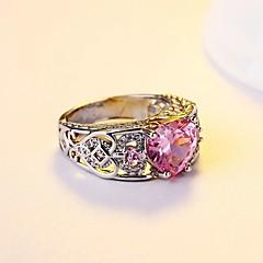 preiswerte Ringe-Damen Kubikzirkonia Bandring / Verlobungsring - Kubikzirkonia, Silber Retro, Elegant 6 / 7 / 8 Rot / Blau / Leicht Rosa Für Hochzeit / Party