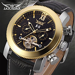 お買い得  メンズ腕時計-Jaragar 男性用 リストウォッチ カレンダー / クール レザー バンド カジュアル / ファッション ブラック / ステンレス / 自動巻き