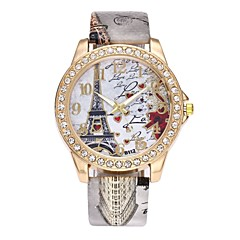 preiswerte Tolle Angebote auf Uhren-Damen Armbanduhr / Simulierter Diamant Uhr Chinesisch Imitation Diamant PU Band Luxus / Blume / Retro Schwarz / Weiß / Blau / Ein Jahr