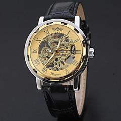 お買い得  大特価腕時計-WINNER 男性用 リストウォッチ / 機械式時計 透かし加工 レザー バンド ぜいたく / カジュアル ブラック / 自動巻き