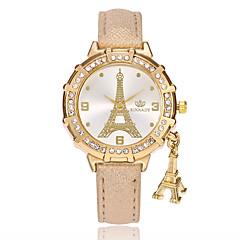 preiswerte Damenuhren-Damen Armbanduhr Chinesisch PU Band Freizeit / Eiffelturm / Modisch Schwarz / Weiß / Blau