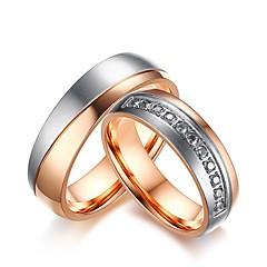 preiswerte Ringe-Herrn / Damen Kubikzirkonia Verlobungsring / Ringe Set - Kubikzirkonia 6 / 7 / 8 Rotgold Für Hochzeit / Party