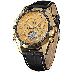 お買い得  メンズ腕時計-FORSINING 男性用 リストウォッチ 自動巻き 30 m カレンダー クール レザー バンド ハンズ カジュアル ファッション ブラック - ホワイト / ゴールド ローズゴールド / ホワイト ブラック / ローズゴールド / ステンレス