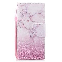 Недорогие Чехлы и кейсы для Sony-Кейс для Назначение Sony Xperia XA1 Xperia E5 Бумажник для карт Кошелек со стендом Флип С узором Чехол Мрамор Твердый Искусственная кожа