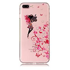 Кейс для Назначение Apple iPhone X iPhone 8 Plus Прозрачный С узором Задняя крышка Соблазнительная девушка Цветы Мягкий TPU для iPhone X