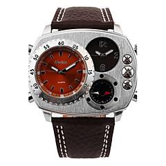 Heren Modieus horloge Kwarts Waterbestendig Kompas Leer Band Informeel Zwart Bruin