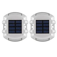 tanie Oświetlenie zewnętrzne-2szt aluminiowa słoneczna 6-led droga zewnętrzna droga dojazdowa droga do stacji ziemia światło niebieskie światło