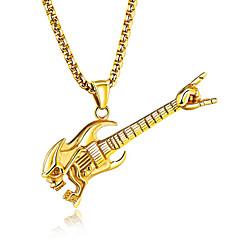 男性用 ペンダントネックレス ギター チタニウム スチール ヒップホップ ファッション ジュエリー 用途 クラブ バー