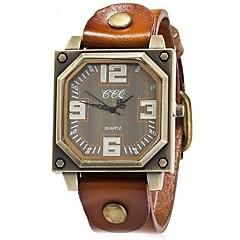 preiswerte Tolle Angebote auf Uhren-Herrn Quartz Armbanduhr Chinesisch Chronograph / Wasserdicht Echtes Leder Band Freizeit / Modisch Schwarz / Weiß / Blau / Rot / Orange /