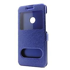 fodral Till Huawei P10 Lite P10 Plånbok med stativ med fönster Lucka Heltäckande Ensfärgat Hårt Konstläder för Huawei P10 Plus Huawei P10