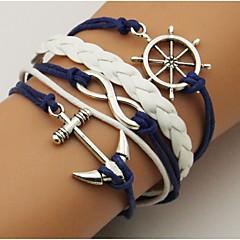 abordables Bijoux pour Femme-Unisexe Bracelets - Cuir Ancre simple, Basique Bracelet Bleu de minuit Pour Décontracté Sortie